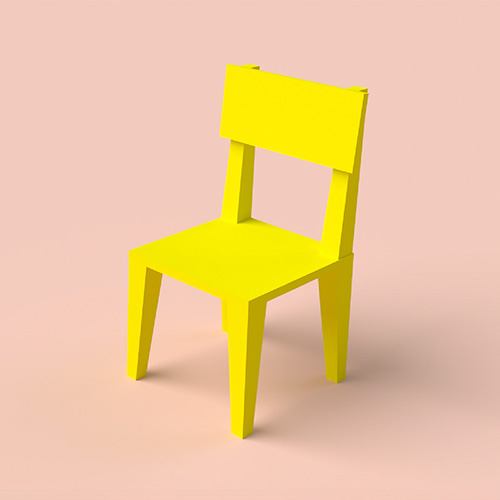Bright yellow 3D chair