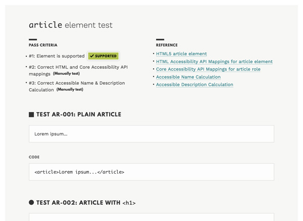 Screenshot of an article test page on HTML5 Accessibility