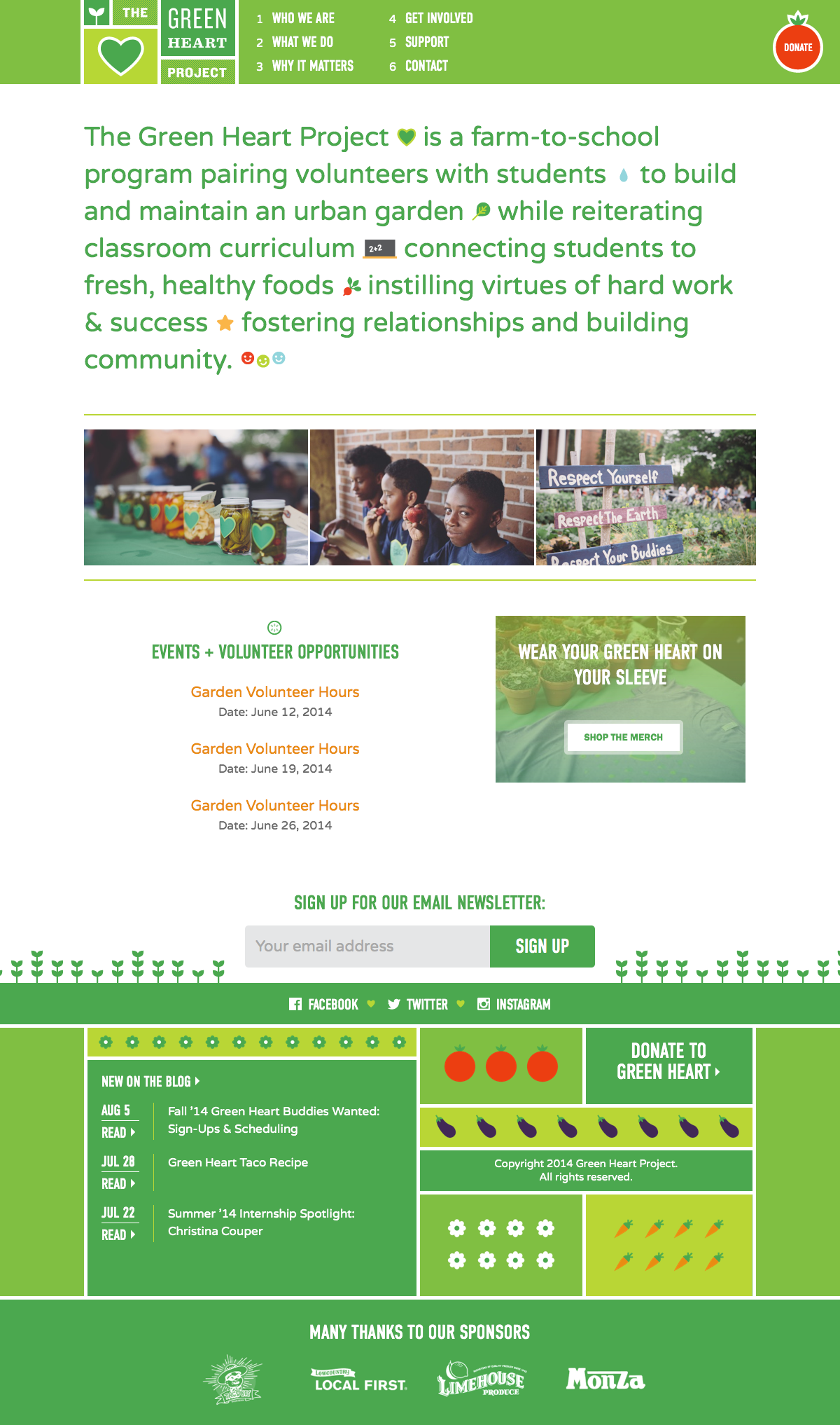 A screenshot of The Green Heart Project website