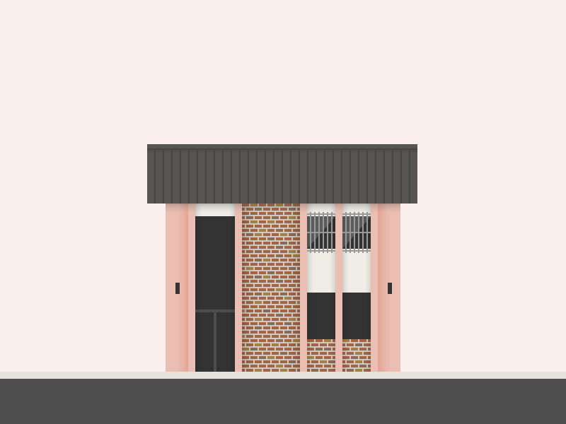 Digital art of an ugly pink building