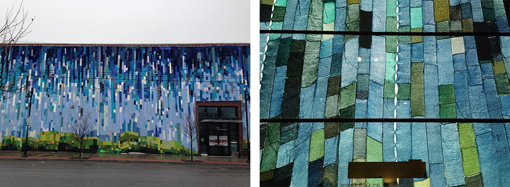 Romy Owens's knit mural landscape, from outside and inside the gallery